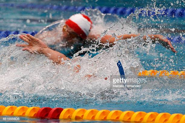 Ramon Figarella of Venezuela competes in 100 mts Finswimming event as part of the XVII Bolivarian Games Trujillo 2013 at pools complex of Mansiche...