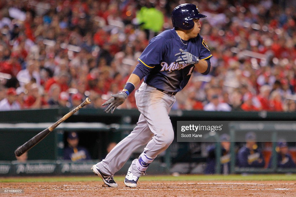 Ramon Flores #18 of the Milwaukee Brewers follows through on a RBI single during the fourth inning against the St. Louis Cardinals at Busch Stadium on April 13, 2016 in St. Louis, Missouri.