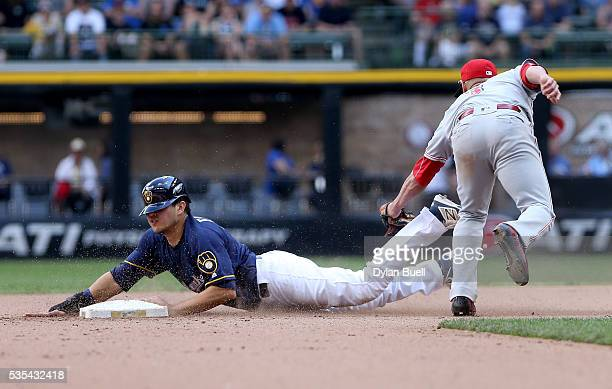 Ramon Flores of the Milwaukee Brewers steals second base past Ivan De Jesus of the Cincinnati Reds in the eighth inning at Miller Park on May 29 2016...