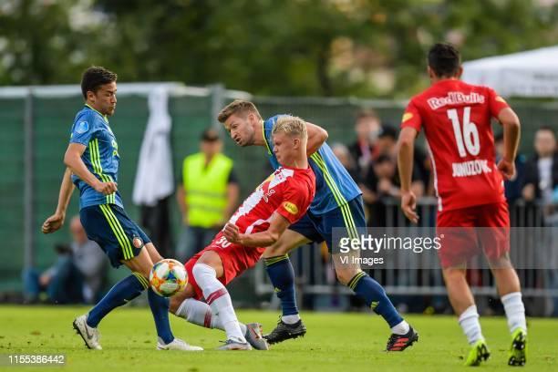 Ramon Hendriks of Feyenoord, Erling Haaland of Red Bull Salzburg, Jan-Arie van der Heijden of Feyenoord, Zlatko Junuzovic of Red Bull Salzburg during...