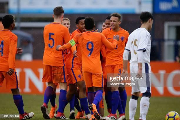 Ramon Hendriks of Holland U17 Daishawn Redan of Holland U17 Liam van Gelderen of Holland U17 during the match between Italy U17 v Holland U17 at the...