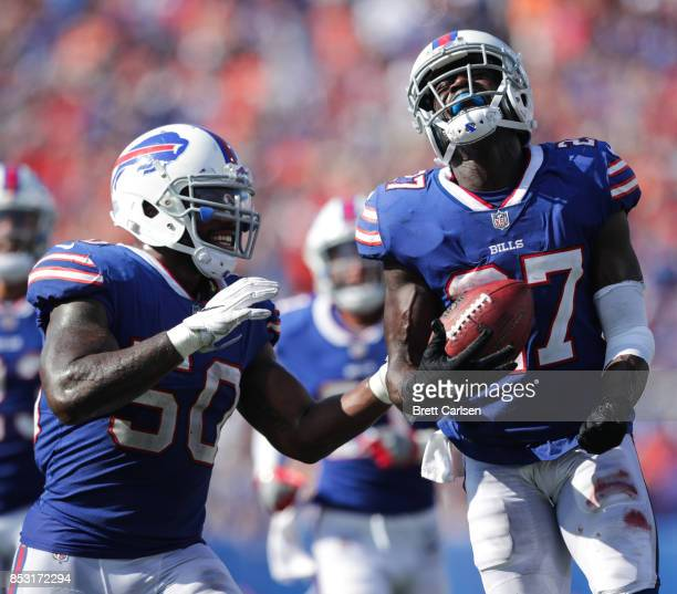Ramon Humber and Tre'Davious White of the Buffalo Bills celebrate during an NFL game against the Denver Broncos on September 24 2017 at New Era Field...