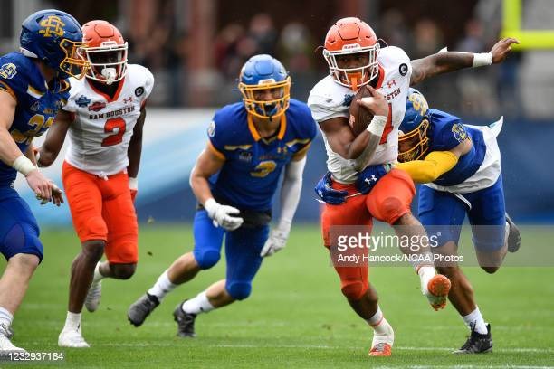 Ramon Jefferson of the Sam Houston State Bearkats rushes the ball against the South Dakota State Jackrabbits during the Division I FCS Football...