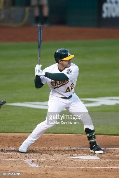 Ramon Laureano of the Oakland Athletics at bat against the Detroit Tigers at RingCentral Coliseum on April 15, 2021 in Oakland, California. All...