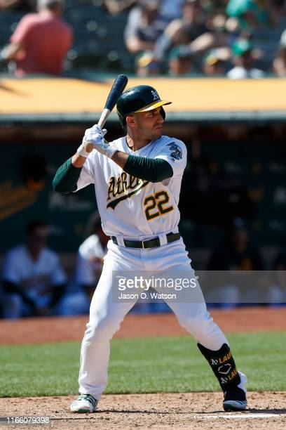 Ramon Laureano of the Oakland Athletics at bat against the Texas Rangers during the eighth inning at the RingCentral Coliseum on July 28, 2019 in...