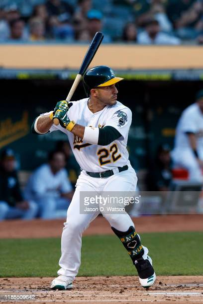 Ramon Laureano of the Oakland Athletics at bat against the Texas Rangers during the first inning at the RingCentral Coliseum on September 21, 2019 in...
