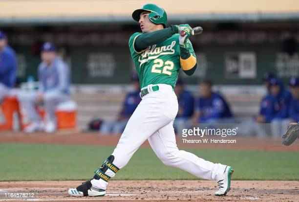 Ramon Laureano of the Oakland Athletics bats against the Texas Rangers in the bottom of the first inning at Ring Central Coliseum on July 26, 2019 in...