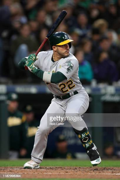 Ramon Laureano of the Oakland Athletics bats during the game against the Seattle Mariners at T-Mobile Park on September 28, 2019 in Seattle,...