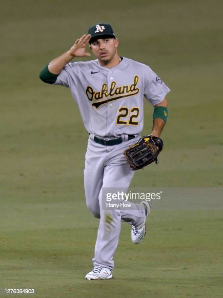 Ramon Laureano of the Oakland Athletics celebrates the final out of the ninth inning and a 6-4 win over the Los Angeles Dodgers at Dodger Stadium on...