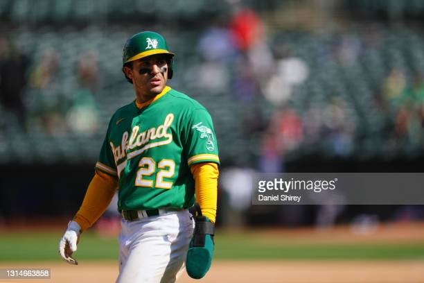 Ramon Laureano of the Oakland Athletics during the game against the Minnesota Twins at RingCentral Coliseum on April 21, 2021 in Oakland, California.