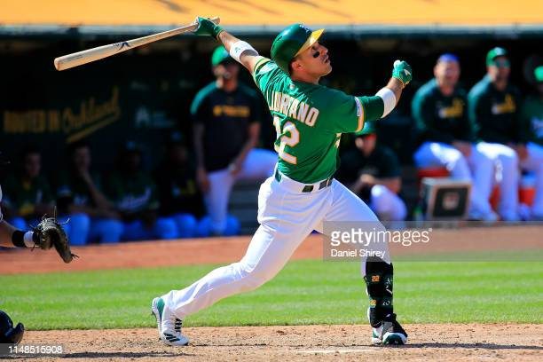 Ramon Laureano of the Oakland Athletics hits a walk off single during the ninth inning against the Cleveland Indians at Oakland-Alameda County...