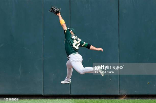 Ramon Laureano of the Oakland Athletics makes a catch in center field of the ball hit by Max Kepler of the Minnesota Twins during the fourth inning...