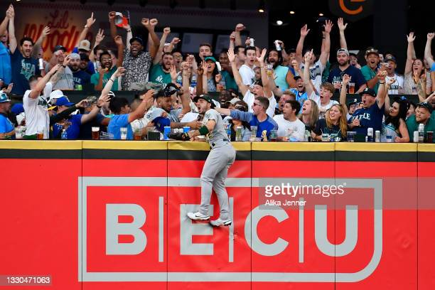 Ramon Laureano of the Oakland Athletics reacts after missing a Seattle Mariners home run in the third inning of the game at T-Mobile Park on July 24,...