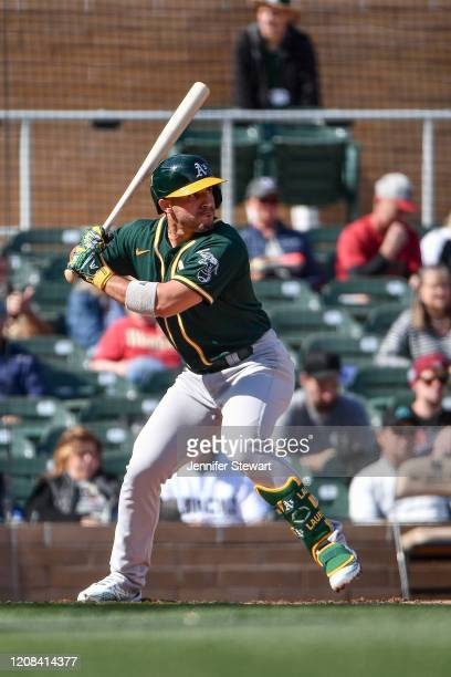Ramon Laureano of the Oakland Athletics stands at bat against the Arizona Diamondbacks at Salt River Fields at Talking Stick on February 23, 2020 in...