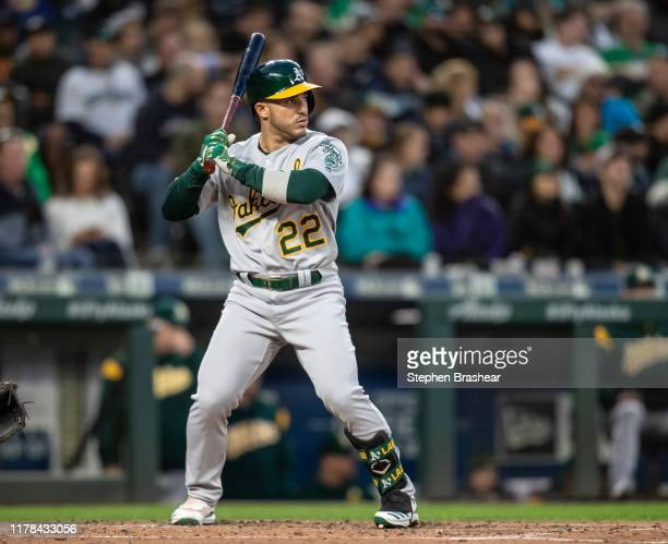 Ramon Laureano of the Oakland Athletics waits for a pitch during an at-bat in a game against the Seattle Mariners at T-Mobile Park on September 28,...