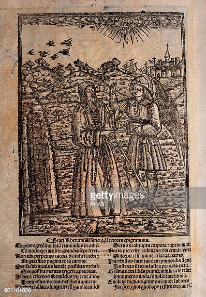 Ramon Llull Spanish writer and philosopher Blanquerna ca 1293 Engraving of the back cover with Llull and a disciple Beati Rhenani Alfatici ad...