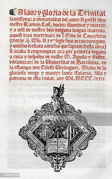 Ramon Llull Spanish writer and philosopher Book of cavalry Manuscript 15th century Colophon and anagram