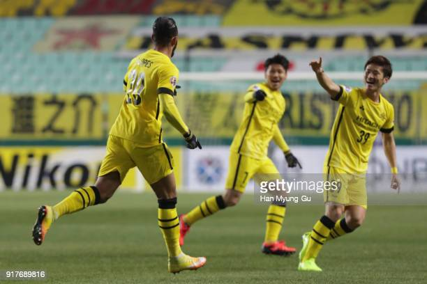 Ramon Lopes of Kashiwa Reysol celebrates scoring the opening goal during the AFC Champions League Group E match between Jeonbuk Hyundai Motors and...