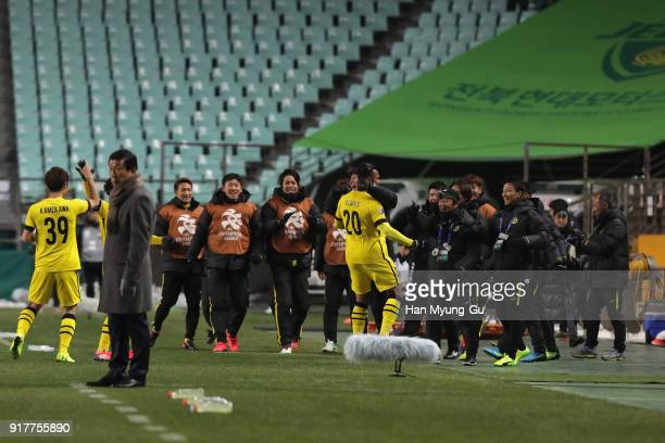 Ramon Lopes of Kashiwa Reysol cleebrates scoring the opening goal with his team mates during the AFC Champions League Group E match between Jeonbuk...