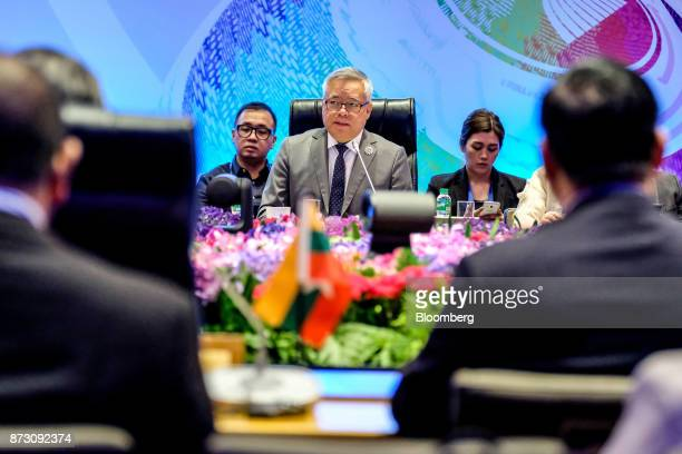 Ramon Lopez the Philippines' secretary of trade and industry center speaks during the Asean economic council meeting at the Association of Southeast...