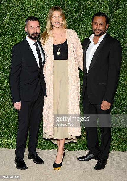 Ramon Martin, Jessica Hart, and Ryan Lobo attend the 12th annual CFDA/Vogue Fashion Fund Awards at Spring Studios on November 2, 2015 in New York...