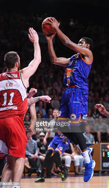 Ramon Moore of the Adelaide 36ers heads for a basket during the round 15 NBL match between the Adelaide 36ers and the Illawarra Hawks at Titanium...