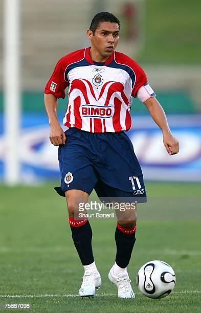 Ramon Morales of CD Chivas de Guadalajara looks to set up the play at midfield during their SuperLiga match against the Los Angeles Galaxy at the Los...