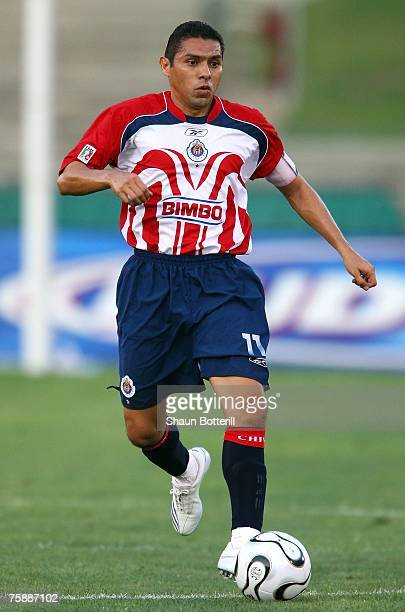 Ramon Morales of CD Chivas de Guadalajara moves the ball through midfield during their SuperLiga match against the Los Angeles Galaxy at the Los...