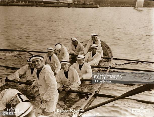 Ramon Novarro and his shipmates are sinking fast in a scene from the film 'Midshipman' directed by Christy Cabanne