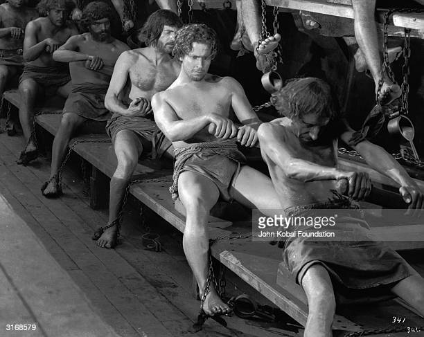 Ramon Novarro is sentenced to slavery in a Roman galley in the epic adventure 'BenHur' directed by Fred Niblo