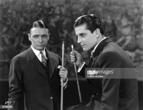 Ramon Novarro , the Mexican leading man with English star George K Arthur in the film 'Lovers?', directed by John M Stahl for MGM.