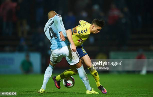 Ramon Rodrigues of Sonderjyske and Gregor Sikosek of Brondby IF compete for the ball during the Danish Alka Superliga match match between Sonderjyske...