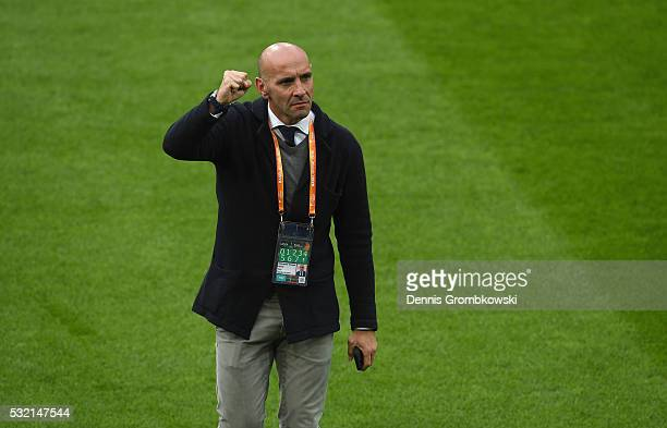 Ramon Rodriguez Verdejo director of football of Sevilla looks on prior to the UEFA Europa League Final match between Liverpool and Sevilla at St...