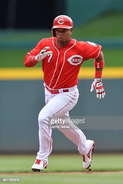Ramon Santiago of the Cincinnati Reds runs the bases against the Milwaukee Brewers at Great American Ball Park on July 6 2014 in Cincinnati Ohio