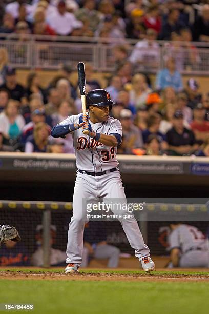 Ramon Santiago of the Detroit Tigers bats against the Minnesota Twins on September 24 2013 at Target Field in Minneapolis Minnesota The Tigers...
