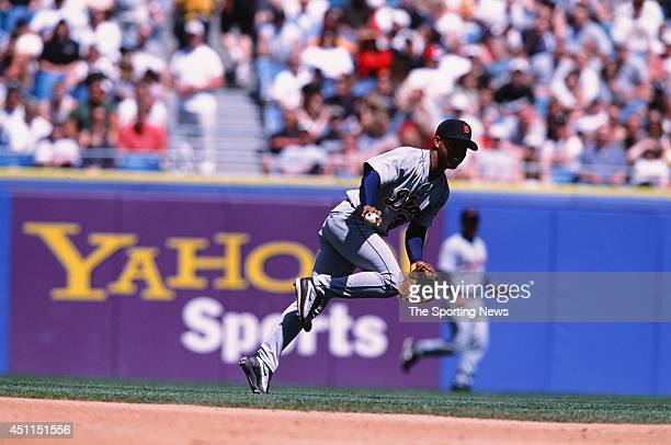 Ramon Santiago of the Detroit Tigers fields against the Chicago White Sox at Comiskey Park in Chicago Illinois on May 26 2002 The Tigers defeated the...