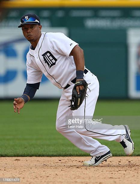 Ramon Santiago of the Detroit Tigers gets ready to field the ball during the game against the Washington Nationals at Comerica Park on July 31 2013...