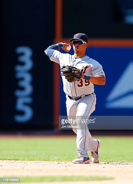 Ramon Santiago of the Detroit Tigers in action against the New York Mets at Citi Field on August 25 2013 in the Flushing neighborhood of the Queens...