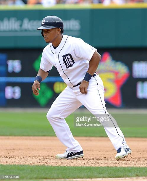 Ramon Santiago of the Detroit Tigers leads off first base during the game against the Philadelphia Phillies at Comerica Park on July 28 2013 in...