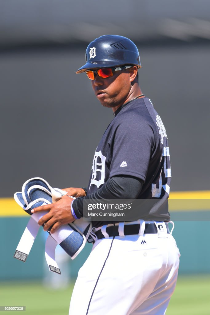 Ramon Santiago #39 of the Detroit Tigers looks on during the Spring Training game against the Tampa Bay Rays at Publix Field at Joker Marchant Stadium on March 3, 2018 in Lakeland, Florida. The Rays defeated the Tigers 7-4.