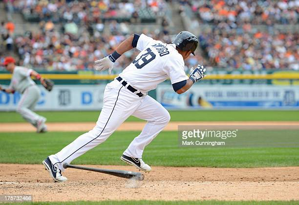 Ramon Santiago of the Detroit Tigers runs to first base during the game against the Philadelphia Phillies at Comerica Park on July 28 2013 in Detroit...