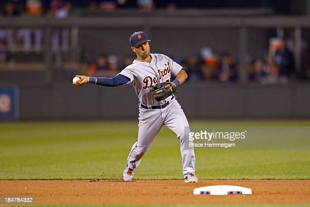 Ramon Santiago of the Detroit Tigers throws against the Minnesota Twins on September 24 2013 at Target Field in Minneapolis Minnesota The Tigers...