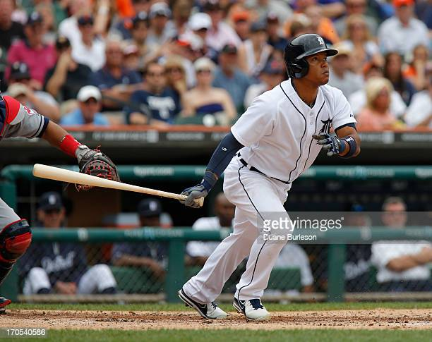 Ramon Santiago of the Detroit Tigers watches his hit against the Cleveland Indians at Comerica Park on June 9 2013 in Detroit Michigan