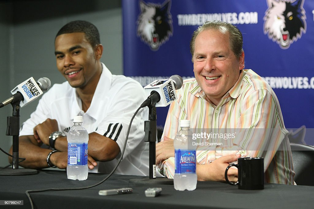 Ramon Sessions is introduced to the media as the newest Minnesota Timberwolves player by David Kahn, President of Basketball Operations at a press conference on September 15, 2009 at the Target Center in Minneapolis, Minnesota.