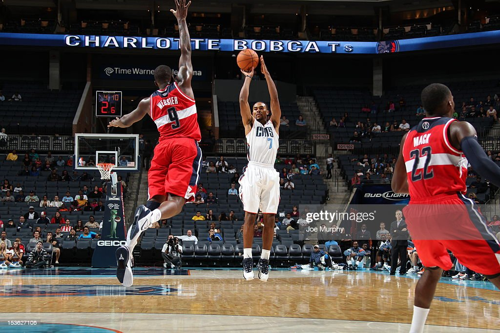 Ramon Sessions #7 of the Charlotte Bobcats goes for a jump shot during the game between the Charlotte Bobcats and the Washington Wizards at the Time Warner Cable Arena on October 7, 2012 in Charlotte, North Carolina.
