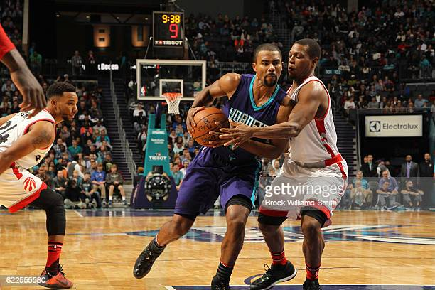 Ramon Sessions of the Charlotte Hornets handles the ball against the Toronto Raptors on November 11 2016 at Time Warner Cable Arena in Charlotte...