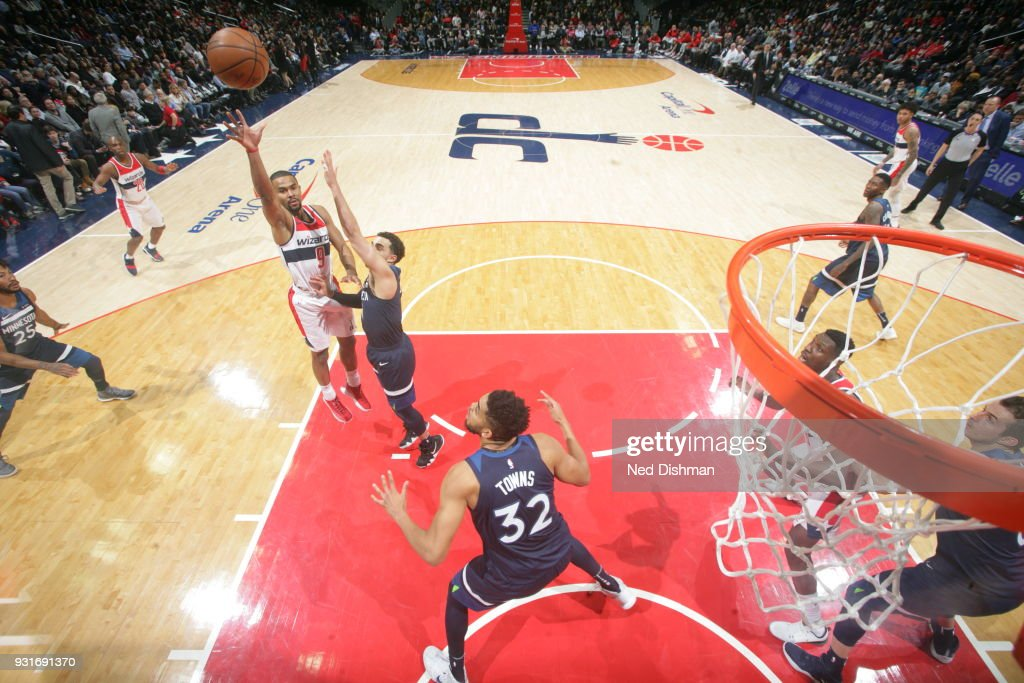Ramon Sessions #9 of the Washington Wizards shoots the ball against the Minnesota Timberwolves on March 13, 2018 at Capital One Arena in Washington, DC.