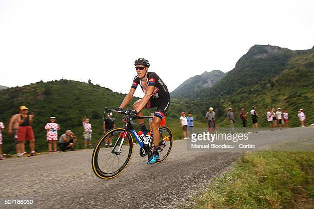 Ramon Sinkeldam of Netherlands riding for Team GiantAlpecin is pictured as he climbs the Port de Lers during the 2015 Tour of France Stage 12...