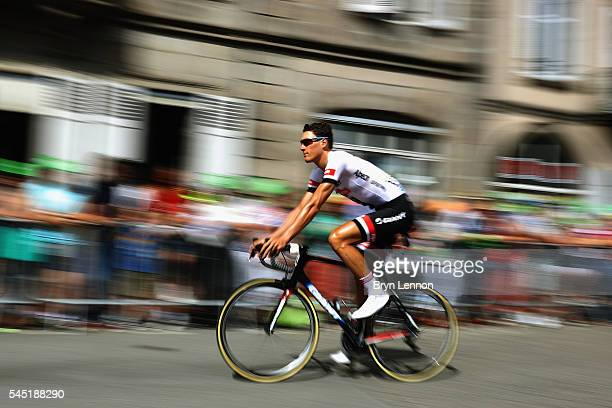 Ramon Sinkeldam of The Netherlands and Team Giant Alpecin arrives at the start of stage five of the 2016 Tour de France a 216km road stage from...