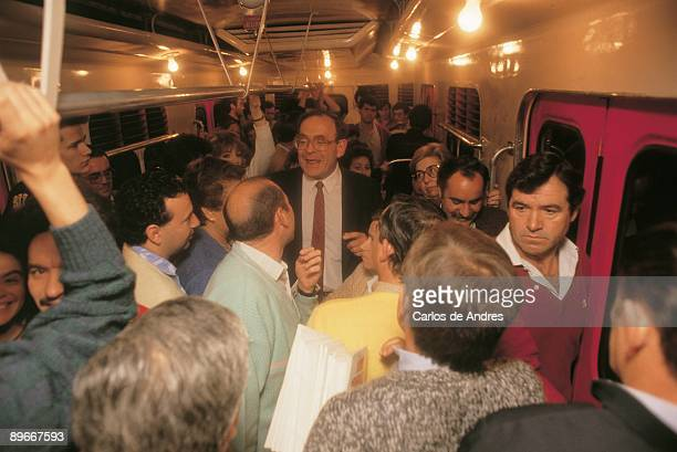 Ramon Tamames in IU electoral campaign The IU politician during a meeting in the Subway in Madrid
